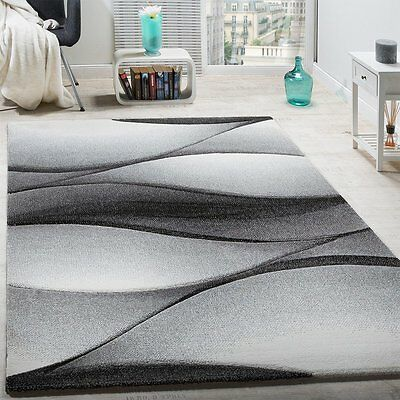 Large Black And Grey Rug Modern Design Carpet Bedroom Hall Thick Floor Mats Xl