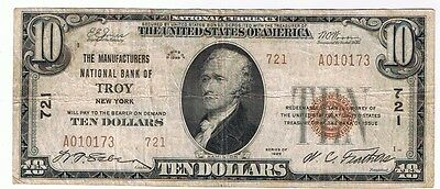 1929 Manufacturers National Bank Of Troy #721 $10.00 Note Type Ii
