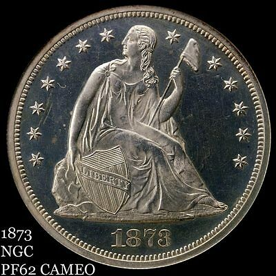 1873 Liberty Seated Dollar with Motto SLABBED NGC PROOF 62 CAMEO! Price Deduced!