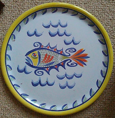 Henriot Quimper hand-painted large 12.5 inch plate with fish motif- look!