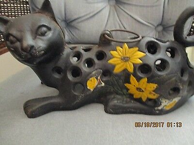 Vintage Cast Iron Cat/ Hanging Candle Holder/About 10'' Long/NR