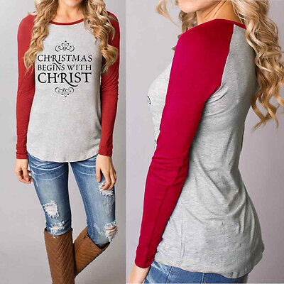 USPS Women Christmas Casual T-Shirts Cotton Long Sleeve Tops Blouse L