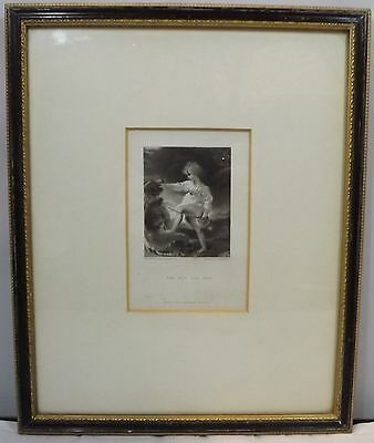 ANTIQUE C19th PROOF ENGRAVING - THE BOY AND DOG, BY W HUMPHREYS AFTER T LAWRENCE