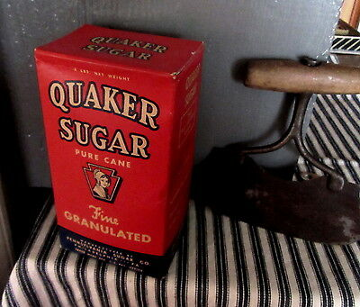 SUGAR BOX Antique QUAKER PA FULL RED KITCHEN~Display~Vtg GENERAL COUNTRY STORE
