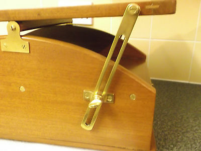 Unusual Antique Oak Writing Slope/box With Drawer,  Companion? Adjustable Brass