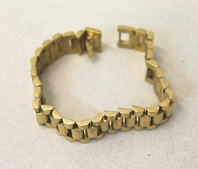 Men's Yellow Gold Plated Stainless Steel Chain Link Clasp Statement Bracelet