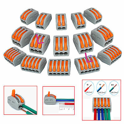 15Pcs Mixed Reusable Spring Lever Terminal Block Electric Cable Connector Wire