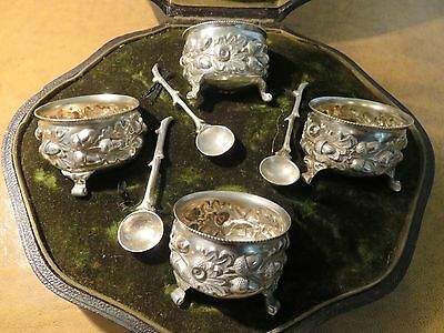 Superb Rare Set Of 4 X Mappin & Webb Solid Silver Boxed Mustard Condiment Pots