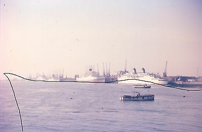 Original Ship/shipping Colour Slide Of A Number Of Cruise Liners In Southampton.