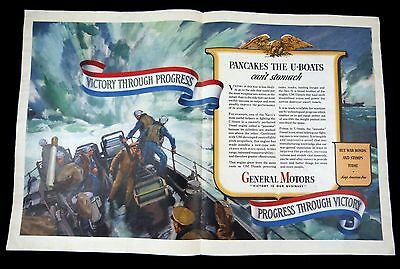 GENERAL MOTORS 'Victory' Wartime WWII Two-Page Magazine Ad Collier's 1943