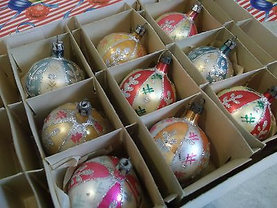 Vtg. Xmas Hand Decorated Glass Ornaments-Iob-Soft,pastel Colors~Hand Blown-