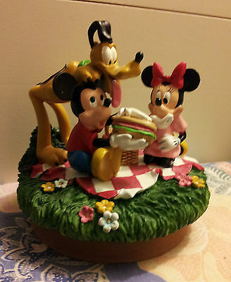 Mickey & Minnie Mouse with Pluto on a Picnic Figurine!!!
