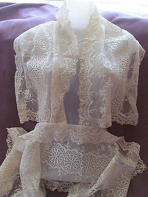 Pair SHABBY ANTIQUE VTG VICTORIAN tambour net lace runners scarves cutters