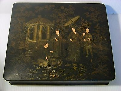 Chinese / Japanese Antique Black Lacquer Box with Painted Figures