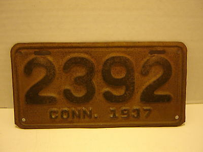 1937 Connecticut  Motorcycle  License Plate 2392