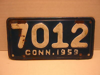 1959 Connecticut  Motorcycle  License Plate 7012