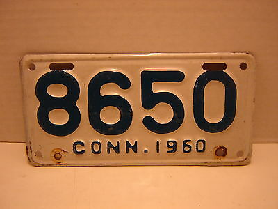 1960 Connecticut  Motorcycle  License Plate 8650