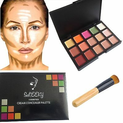 15 Colors Contour Face Cream Concealer Make up Palette with Wooden Brush SQ3