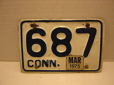 1975 Connecticut  Motorcycle  License Plate 687