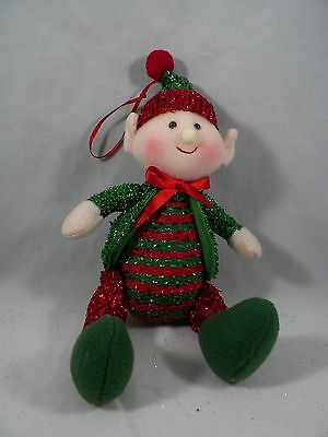 Red and Green Glittered Elf with Green Coat Christmas Tree Ornament new holiday