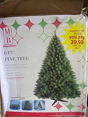 6' Artificial Christmas Tree New In Box With Heavy Duty Stand Two Tone Branches