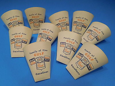 Vtg Paper Drinking Cups Advertising Gulf Gasolines  lot of 10