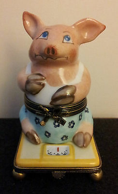 LIMOGES Hilarious Male Pig Weight Watcher on Weigh Scales Trinket Box!!
