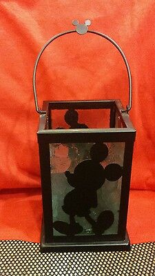DISNEY Parks Mickey Mouse black metal LANTERN candle holder silhouette light