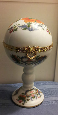 Genuine Limoges Raynaud Extra Large Orb On Pedestal Trinket Box !!!