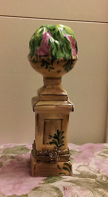 Genuine Limoges Outdoor Planter On Pedestal Limited Edition Trinket Box!!!