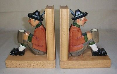 Vintage German Carved Wood Bookends Man In Folk Dress With Tankard Carvings