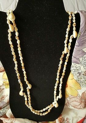 """2 Vintage Cowrie Shell Long Chain Shell Necklace Approx. 36"""" Each"""