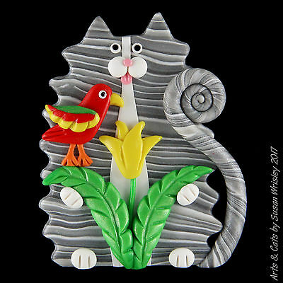 Fluffy Silver Tabby Kitty Cat, Yellow Flower & Red Parrot Bird Pin - SWris