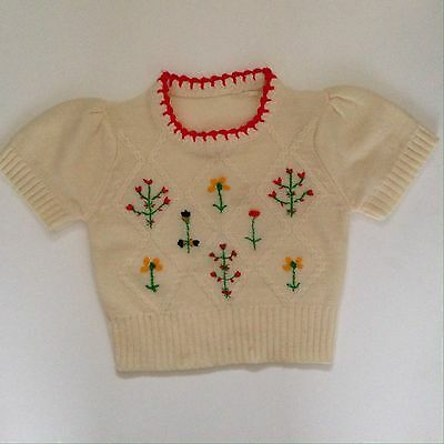 Vtg Childrens Sweater White Red Acrylic Knit 4-6 Embroidered Flowers 60's 70's