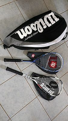 2 x squash racquets plus balls - Wilson and Prince brands
