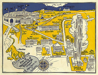 1935 University of Pittsburgh Campus Map Wall Art Poster Print Vintage History