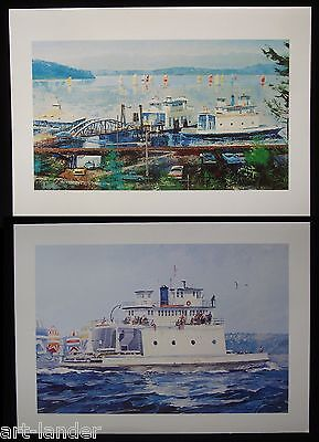 8 Washington State Ferry Landing Steilacoom Note Cards~ Marshall Johnson no env.