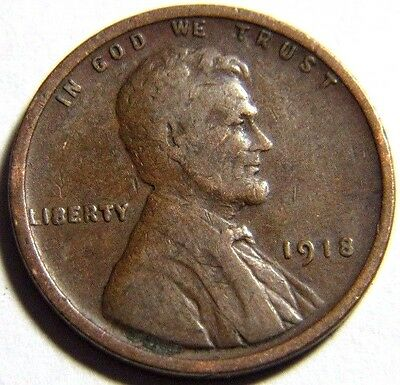 1918 Philadelphia Mint Lincoln Cent 1C Wheat Cent Free Shipping