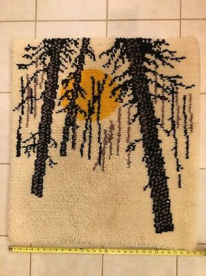 "1970's Latch Hook Wall Hanging Rug 30X33"" hand made plush"