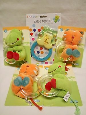 5 Baby Rattle Ring Newborn Soft Animal Plush Toy Teething Ring, Brand New