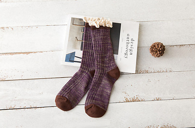 New Retro Womens Ladies Crochet Lace Cotton Stocking Long Knitted Boot Socks 171