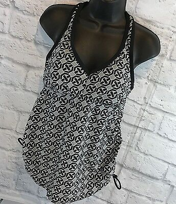 Liz Lange Maternity Tankini Top Swimsuit Ruched Black Grey Padded Medium EUC