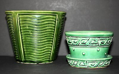 Lot of 2 McCoy Green Planters Ribbed & Hobnail/Greek Key w/attached Saucer