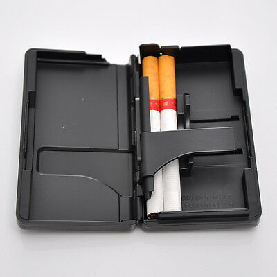 New Black Aluminum Pocket Cigarette Case Automatic Ejection Holder Metal Box