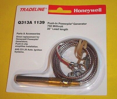 """Honeywell Q313A1139 750mV Thermopile 35"""" Length with Spade Terminals"""