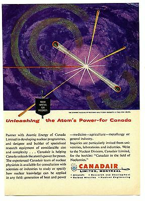1957 Canadair Atomic Energy of Canada Nuclear Power Vintage Magazine Print Ad