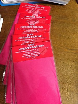 5 Stretchable Fabric Book Covers Hot Pink JUMBO