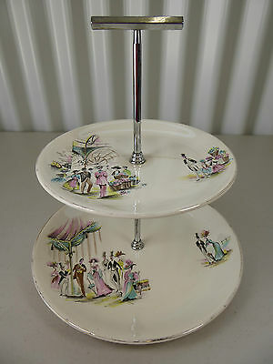 "Vintage ALFRED MEAKIN ""My Fair Lady"" 2 Tier Cake Plate Stand Pink & Turquoise 50"