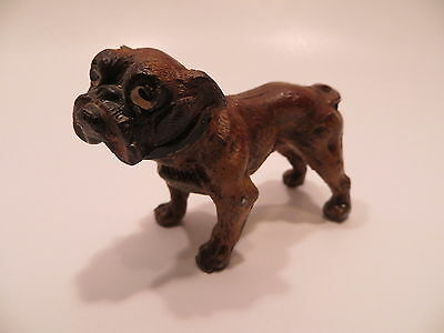 Vtg Bulldog Dog Figurine Painted Cast Metal made in Germany
