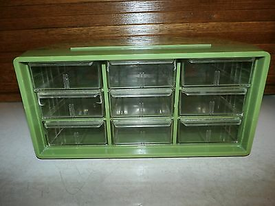 Vintage AKRO-MILS Avocado Plastic Cabinet 9 Clear Storage Drawers Organizer